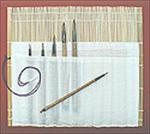 6 Sumi Brush Kit with Bamboo Roll Up Case