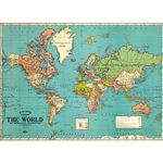 "Cavallini Decorative Paper - World Map #4 20""x28"" Sheet"