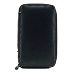 Global Art Black Leather Pencil Case - Holds 24 Pencils