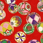 Japanese Chiyogami Paper - Floating Globes on Red