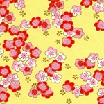 Japanese Chiyogami Paper - Pink, White, Red Blossoms on Yellow