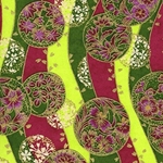 Japanese Chiyogami Paper - Floral Medallions on Waves of Gold, Green, Magenta