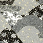 Japanese Chiyogami Paper - Black and White Flowers Falling on Hills
