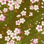Japanese Chiyogami Paper - Orange, Pink, White Flowers with Leaves on Green, Gold