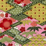 Japanese Chiyogami Paper - Pink, Red, White Flowers with Green Leaves on Pink