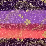 Japanese Chiyogami Paper - Gold Flower Falling Against Hazy Purple, Pink Sky