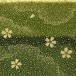 Japanese Chiyogami Paper - Gold Flowers Falling Against Green Sky