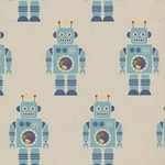 "Retro Robot Paper- Blue Bots on Recycled Paper 19""x27"" Sheet"