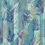 Blue & Gold Fern Leaves