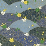"Metallic Gold Bamboo, Leaves, and Flowers on Blue - 21.5""x31.5"" Sheet"
