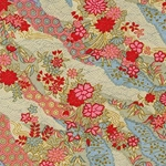 "Kirara Blue, Pink, and Cream with Red and Pink Floral Print - 19""x25.5"" Sheet"