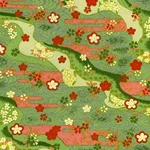 "Kirara Green and Pink Waves with Red Flowers & Gold/Silver Accents - 19""x26"" Sheet"