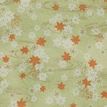 "White & Orange Maple Leaves on Pale Green - 19""x26"" Sheet"