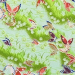 "Pink, Blue, and Gold Butterflies on Green Flowers and Clouds - 21.5""x31.5"" Sheet"