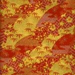 "Red and Gold Leaves, Flowers, and Waves - 19""x25"" Sheet"