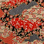 Urushi Red, Gold, Black Clouds and Blossoms