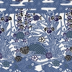 "Indigo Vines and Flowers on White - 21""x31"" Sheet"