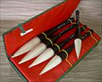 Sumi Brush Set- Five Goat Hair and Horn Brushes in a Fabric Lined Box