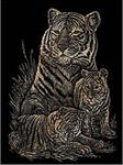 Tiger and Cubs on Copper Engraving Art Kit