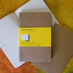 Moleskine Cahiers Kraft Cover - Three 3.5 x 5.5 Inch Squared Journals