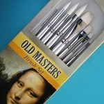 Old Masters Brush Set - 8 White Nylon Bristle Brushes