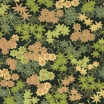 Green & Gold Leaves on Dark Green - Chiyogami Paper