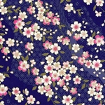 Pink Flowers on Deep Cobalt - Chiyogami Paper