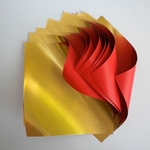 "Double Sided Gold Foil/Red Paper Origami (9.5"" Square 5 sheets)"