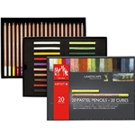 Caran d'Ache Pastel Landscape Assortment - 20 Pencils & 20 Cubes