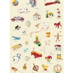 "Cavallini Papers from Italy - Vintage Toys 20""x28"" Sheet"