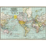 "Cavallini Papers from Italy - World Map #3 20""x28"" Sheet"