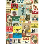 "Cavallini Papers from Italy - Vintage Cats 20""x28"" Sheet"