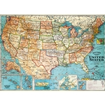 "Cavallini Papers from Italy - USA Map 20""x28"" Sheet"