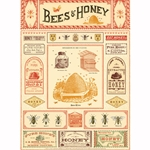 "Cavallini Papers - Bees & Honey 20""x28"" Sheet"
