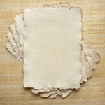 "Hemp Paper - 250 gsm 5.83x8.27"" Antique Feather Deckle (5 Sheet Pack)"