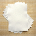 "Hemp Paper - 125 gsm 5.83x8.27"" White Natural Deckle (5 Sheet Pack)"