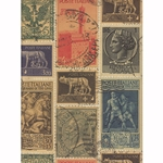 Rossi Decorative Paper from Italy- Italian Stamps 28x40 Inch Sheet