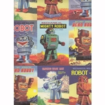 Rossi Decorative Paper from Italy- Vintage Robots 28x40 Inch Sheet