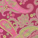 Printed Cotton Paper from India- Paisley Pink/Green on Magenta 22x30 Inch Sheet