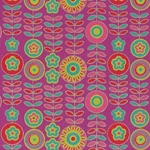 Printed Cotton Paper from India- Red/Pink/Turquoise Floral on Magenta 22x30 Inch Sheet