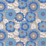 Printed Cotton Paper from India- Floral White/Blue/Cobalt on Gray 22x30 Inch Sheet