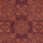 "Metallic Medallion Printed Paper - Copper Pattern on Burgundy Paper 22""x30"" Sheet"