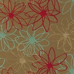 "Mod Daisy Print Paper - Gold, Red, and Turquoise Daisies on Tan 22""x30"" Sheet"