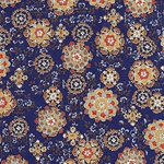 "Hana Yuzen Ornaments Dark Blue - 18.5""x25"" Sheet"