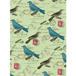 "Cavallini Decorative Paper - Blue Birds on Green 20""x28"" Sheet"