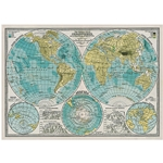 "Cavallini Decorative Paper - Hemispheres Vintage Map 20""x28"" Sheet"
