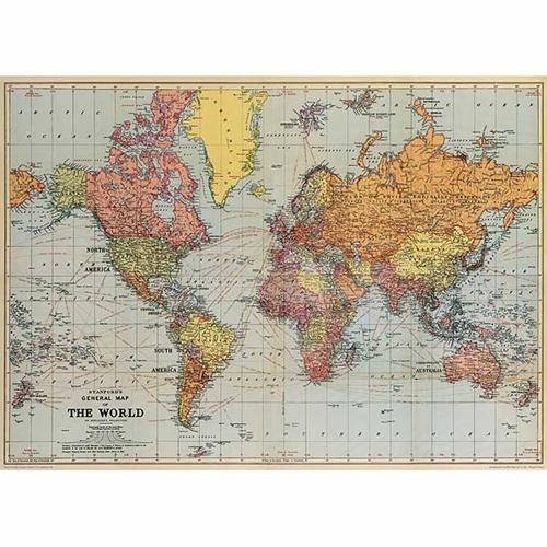 Large Paper World Map.Cavallini Decorative Paper World Map 1 20 X28 Sheet