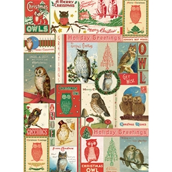 "Cavallini Decorative Paper - Christmas Owls 20""x28"" Sheet"
