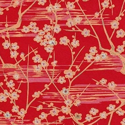 Cherry Blossom Branches on Red