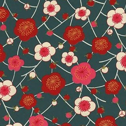 Red, Pink, & White Blossoms on Teal